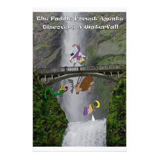 The paddle forest agents discover a waterfall stationery paper