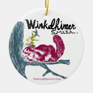 The Painting Squirrel,Winkelhimer Smith Round Ceramic Ornament