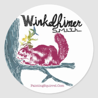 The Painting Squirrel,Winkelhimer Smith Round Sticker