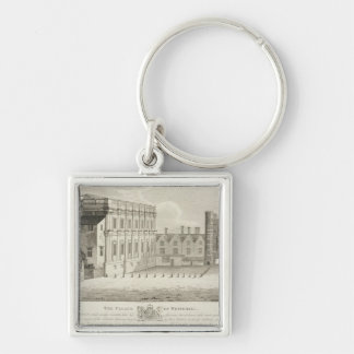 The Palace of Whitehall, from a drawing in the Pep Silver-Colored Square Keychain