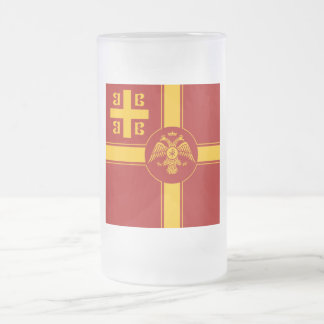 The Palaiologos Dynasty of the Byzantine Empire Frosted Glass Beer Mug