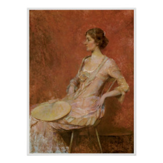 The Palm of Leaf Fan 1906 Thomas Wilmer Dewing Posters