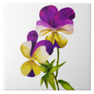 'The Pansy Party' on a Ceramic Tile (I)