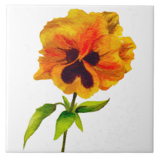 'The Pansy Party' on a Ceramic Tile (II)