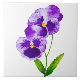 'The Pansy Party' on a Ceramic Tile (III)