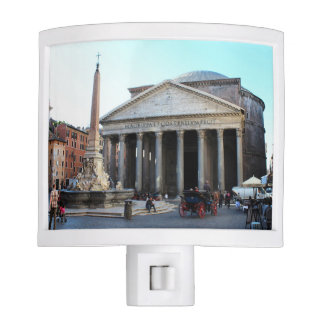 The Pantheon and its famous square in Rome, Italy Night Lite