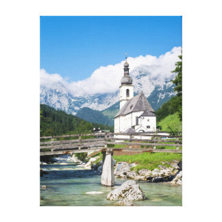 The parish church of Ramsau in Bavaria, Germany Canvas Print