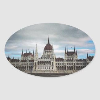 The Parlement Building Budapest, Maritha Mall Oval Sticker