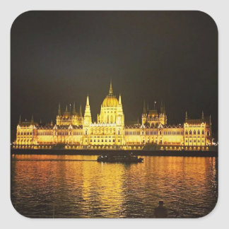 The Parlement Building Budapest Square Sticker