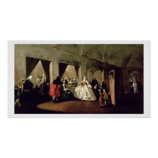 The Parlour of the San Zaccaria Convent (oil on ca Print