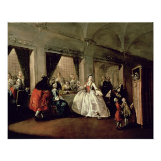 The Parlour of the San Zaccaria Convent (oil on ca Poster