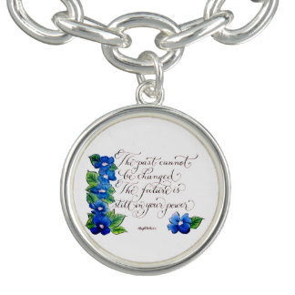 The past cannot be changed inspirational quote charm bracelet