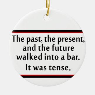 The past, the present, and the future round ceramic ornament