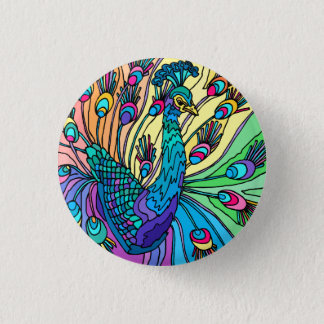 The Peacock Shows Its Feathers 1 Inch Round Button