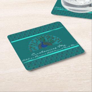 The Peacock Square Paper Coaster