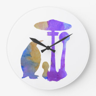 The Penguin And The Mushroom Large Clock