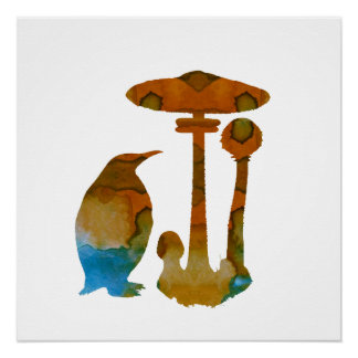 The Penguin And The Mushroom Perfect Poster