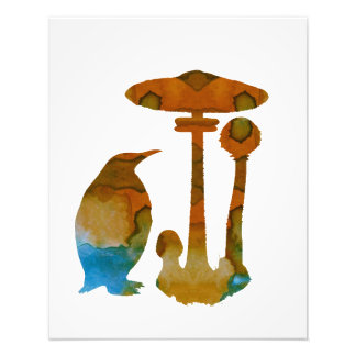 The Penguin And The Mushroom Photo Print