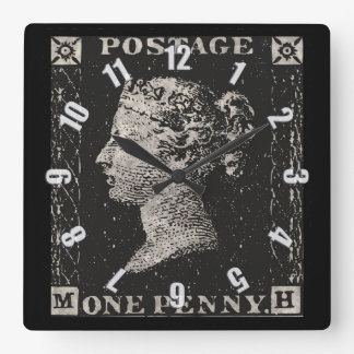 The Penny Black Postage Stamp Square Wall Clock