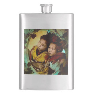 The Pensive Gaze of Two Geisha Vintage Japan Hip Flask