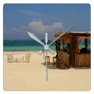 The Perfect Beach Bar Square Wall Clock