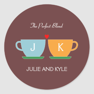 The Perfect Blend Wedding Favor Sticker/ Envelope  Classic Round Sticker