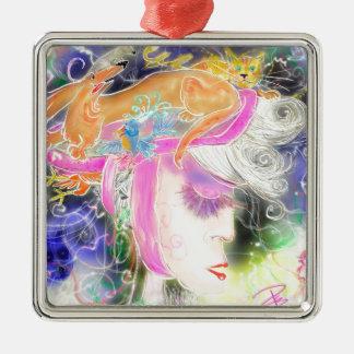 The pet lady Silver-Colored square ornament