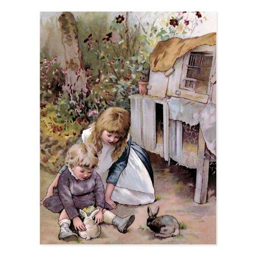 """""""The Pet Rabbit"""" Vintage Postcards"""