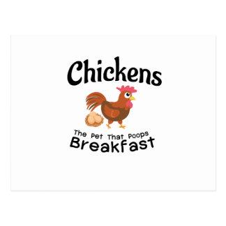 The Pet That Poops Breakfast Chicken Funny Farmer Postcard