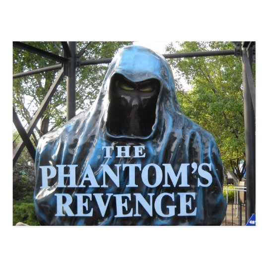 The Phantom's Revenge Roller Coaster Entrance Postcard