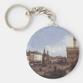 The Piazza della Signoria in Florence by Bernardo Basic Round Button Keychain