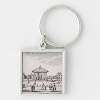 The Piazza in Covent Garden, 1647 (engraving) Silver-Colored Square Keychain