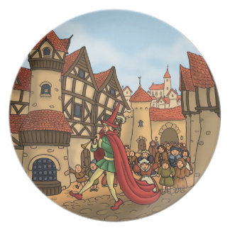 the pied piper & the children fairytale plate
