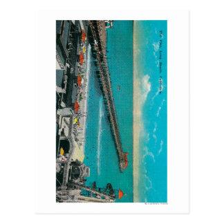 The Pier and Beach and Long Beach Postcard