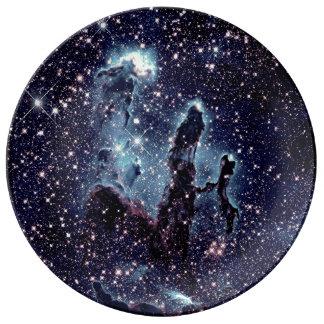 The Pillars of Creation Nebula Blue Slate Plate Porcelain Plate