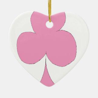 the pink club ceramic heart ornament