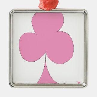 the pink club Silver-Colored square ornament