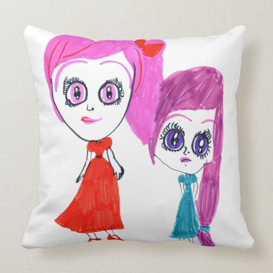 The pink hair throw pillow
