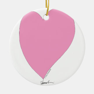 the pink hearts round ceramic ornament