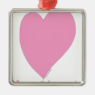 the pink hearts Silver-Colored square ornament