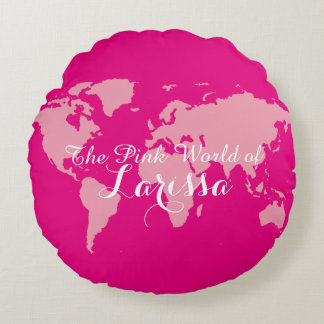the pink world of (your name) round pillow