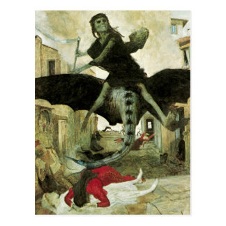 The Plague by Arnold Bocklin, Vintage Symbolism Postcard