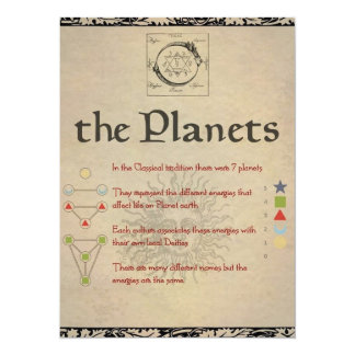 """The Planets """"SATURN"""" Book of Shadows Page Card"""