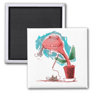 the plant eat cat funny cartoon magnet