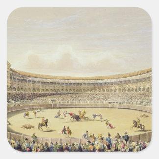 The Plaza de Toros of Madrid, 1865 (colour litho) Square Sticker