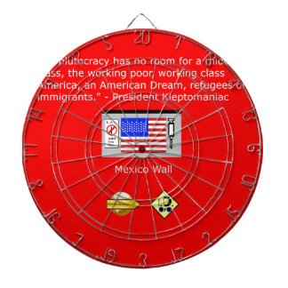 The Plutocracy in America Dartboard With Darts