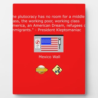 The Plutocracy in America Plaque
