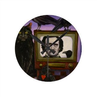 The Poe Show Round Clock