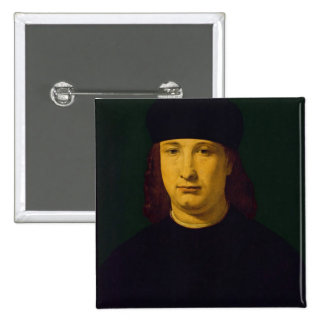 The Poet Casio, c.1495-1500 (oil on panel) 2 Inch Square Button