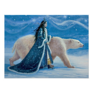 The Polar Bear and The Snow Princess 12x16 Poster